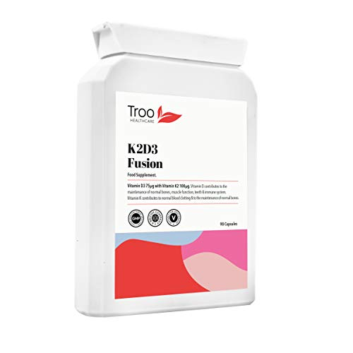 K2D3 Fusion Vitamin D3 3000 IU and Vitamin K2 100ug MK7 90 Supplement Capsules - Bone & Immune Support – Manufactured in UK