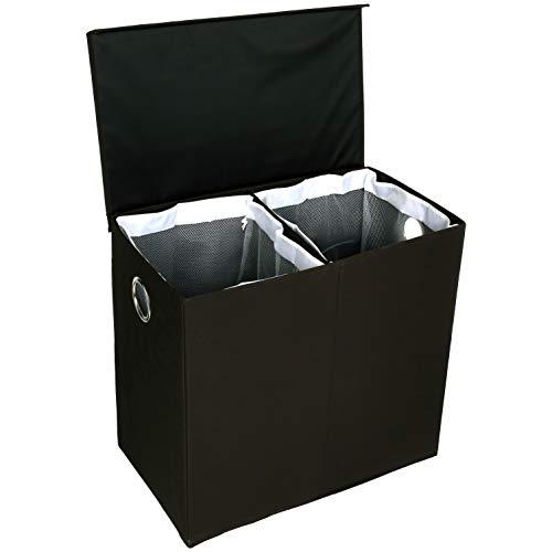 Amazon Basics - Wäsche-Sammler mit magnetischem Deckel, zusammenklappbar - Schwarz