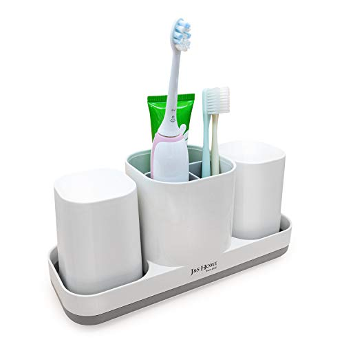 J&S Toothbrush Holder for Bathroom White, 3 Toothbrush Slots and 2 Bathroom Cups, Bathroom Accessories for Family, Kids. As Electric Toothbrush Holder and Toothpaste Organizer.