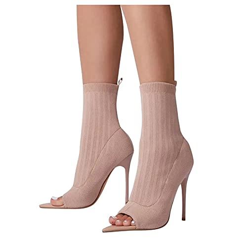 Binggong High Heels Stiefel Damenschuhe Retro Mode Wildleder Stiefel mit Pfennigabsatz Hohlstiefel Open Toe Sockenstiefel Elegante Frauen Halbstiefel Winterstiefel Schlupfstiefel