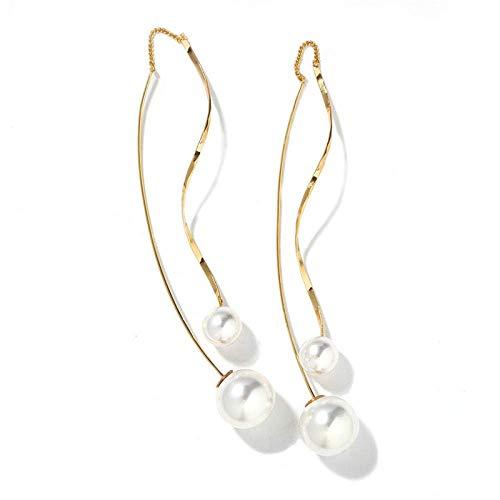 JIAJBG Pendientes de Joyería Del Oído Simple Metal Pendientes Pendientes Línea de Onda Pendientes Pendientes de Perlas Imitadas Exquisito/A