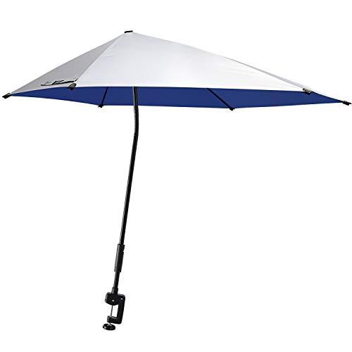 G4Free UPF 50+ Adjustable Beach Umbrella XL with Universal Clamp for Chair, Golf Cart, Stroller, Bleacher, Patio (Silver/Blue)