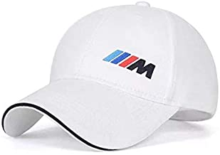 JDclubs BMW-M Logo Embroidered Adjustable Baseball Caps for Men and Women Hat Travel Cap Car Racing Motor Hat (White)