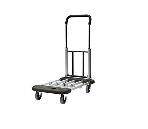 T-EQUIP AHT-1 Plattformwagen, Plattform und Bügel verstellbar, klappbar, Kapazität 150 kg, Gefaltet: 57,5 cm x 44 cm x 24 cm LxBxH, Aluminium/Grau