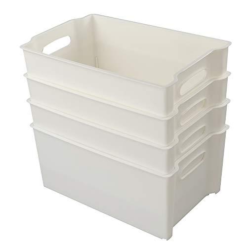 Hommp White Plastic Storage Basket/Storage Bin Organizer, Set of 4