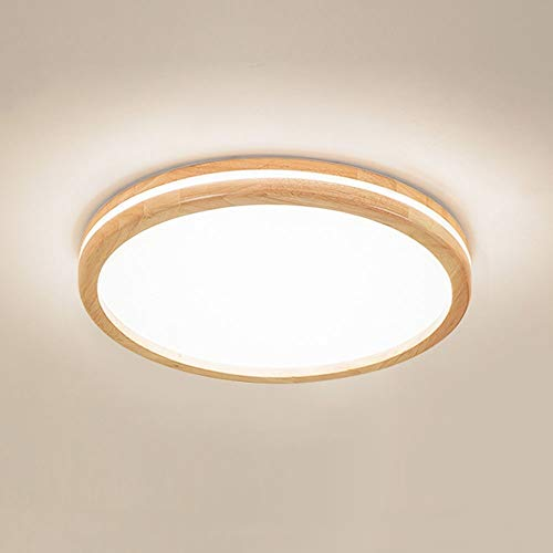 Plafondlamp Nordic hout woonkamer lamp ultradun 6 cm rond slaapkamer houten lamp plafondlamp vintage lamp massief houten plafond licht retro LED kamerlamp interieur decoratieve verlichting plafondlamp