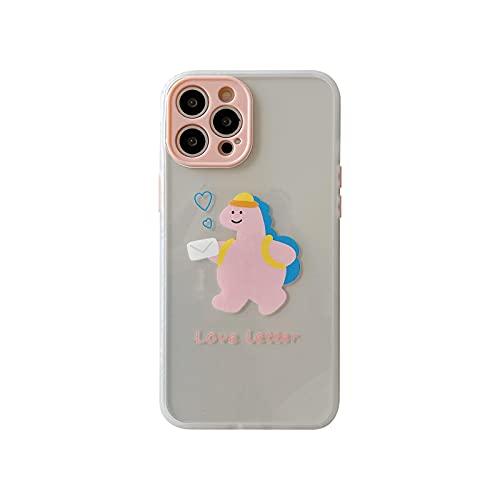 Caso transparente de dibujos animados de lujo para iPhone 11 12 mini Pro Max XS XR 7 8 plus SE 2020 silicona suave a prueba de golpes teléfono cubierta rosa dinosaurio iPhone 12 Pro Max