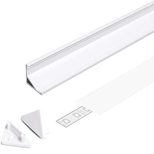 Kingled - Profilo in Alluminio CABI12 - Angolare Proiezione a 30° o 60° - Idoneo per Strip Led fino a 12 mm - Incluso di Tappi e Coperchio (1 x 2 metri Cover Opaco, Bianco)