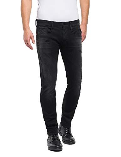 Replay Herren Anbass Slim Jeans, Schwarz (Black 7), W40/L34 (Herstellergröße: 40)