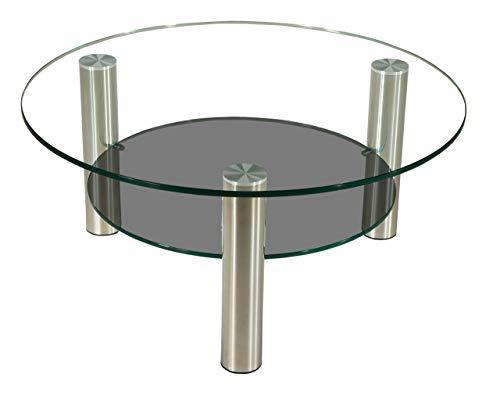 tischdesign24 Darwin2322 Couchtisch mit Einer 12mm starken Glasplatte. Ablage in Parsolglas. Stollen in 80mm rund Chrom gebürstet mit komfortablen Rollen. Klarglas Größe: 90cm Rund Höhe: 42cm