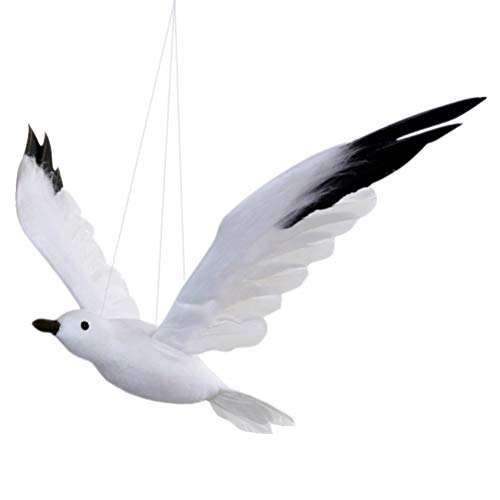 NUOBESTY Artificial Flying Seagull Hanging Bird Foam Bird Statue Ornament for Beach Wedding Party Supplies
