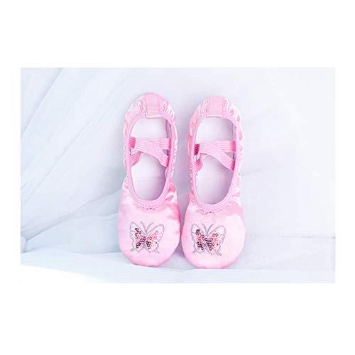 JJZZ Zapatillas Ballet niña Zapatillas de Ballet de satén, Zapatos de Baile de Ballet para niños, Zapatos de Ballet con Bordado de Lentejuelas y Brillo para niños y niñas