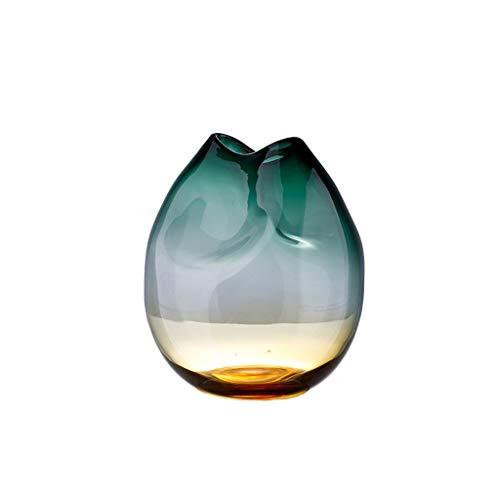 Jarrón Gradiente Verde Oscuro Amber Transparente Vidrio Jarrón de Vidrio en casa Sala de Estar Mesa de Comedor decoración de la Oficina o como Regalo Jarrones y Adornos (Size : B)