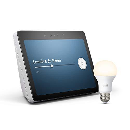 """Echo Show (2ème génération) - Son de qualité premium et écran HD 10"""" éclatant, Blanc + Ampoule connectée Philips Hue"""
