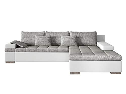 Mirjan24 Design Ecksofa Bangkok, Moderne Eckcouch mit Schlaffunktion und Bettkasten, Ecksofa für Wohnzimmer, Gästezimmer, Couch L-Form, Wohnlandschaft, (Ecksofa Rechts, Soft 017 + Lawa 05)