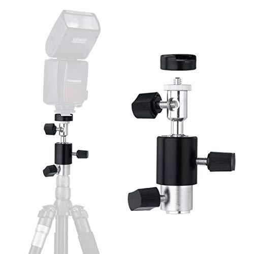 Universal Camera Flash Bracket Mount, Type D Speedlite Bracket with Umbrella Holder Swivel Ball Head Standard Hot Shoe for Canon Nikon Sony Speedlites