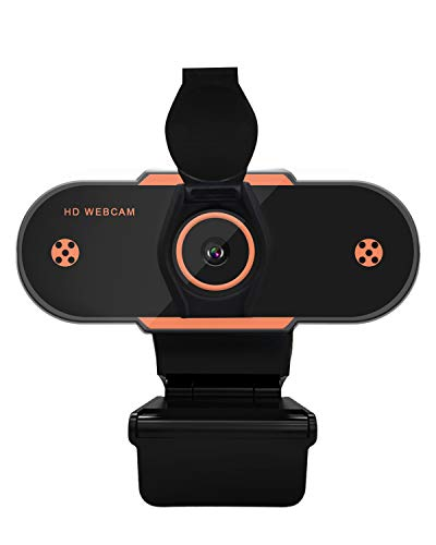 Webcam with Microphone, 1080P HD USB Webcam for Computer Laptop with 110° Wide Angle & Privacy Cover, Noise Reduction Portable Live Streaming Camera, Plug and Play, Black with Orange