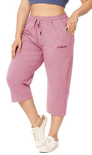ZERDOCEAN Women's Plus Size Active Yoga Lounge Indoor Jersey Capri Walking Crop Pants with Pockets Drawstring Pink 2X