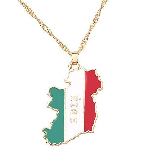 Kkoqmw Irlanda mapas Bandera Colgante con Dije Collares para Mujeres Hombres niñas joyería Regalos Oro