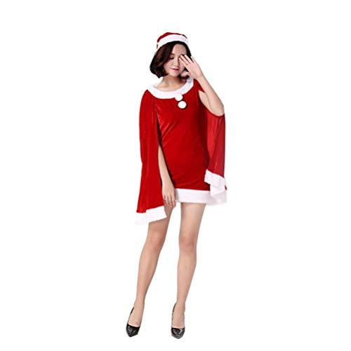 JEELINBORE Frauen Weihnachts Cape Kleider Fancy Dress Süß Xmas Kostüme mit Weihnachtsmütze - Rot, Eine Größe
