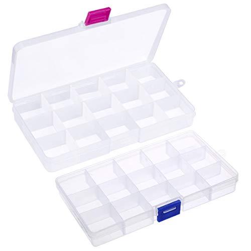 Fodlon Caja Almacenaje Plastico Transparente 2piezas Caja Organizadora Compartimentos Organizador de Pendientes Pequeños Cajas Clasificadoras Cajas con Separadores para Costura Accesorios Tornillos