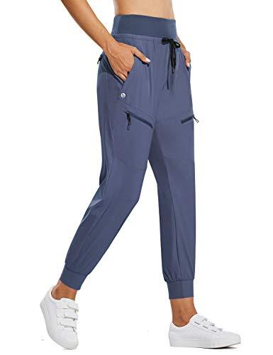 BALEAF Women's Lightweight Jogger Hiking Pants with Zipper Pockets High Waist Quick Dry Blue M