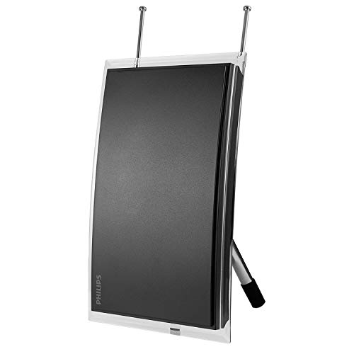 Philips Amplified Crystal Indoor TV Antenna, Long Range, Digital, HDTV Antenna, Smart TV Compatible, 4K 1080P VHF UHF, 6 ft. Coaxial Cable, Amplifier, Signal Booster, SDV3237N/27