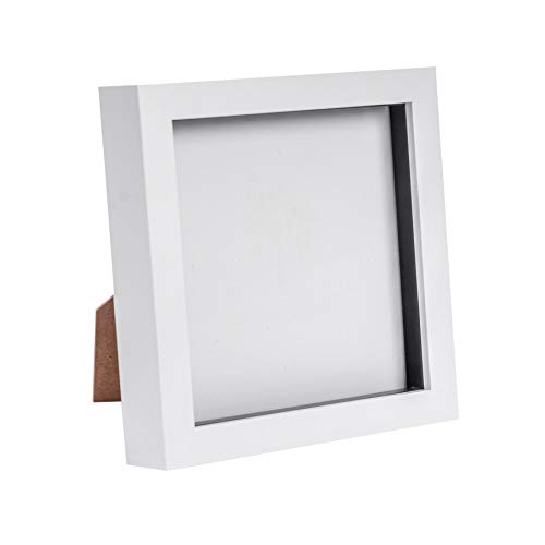 Nicola Spring White 6x6 Box Photo Frame - Standing & Hanging