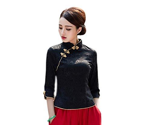 Yue Lian Damen Frauen Frühling Sommer Cheongsam Stil Oberhemd Schirt Bluse (EU:40—China:2XL)