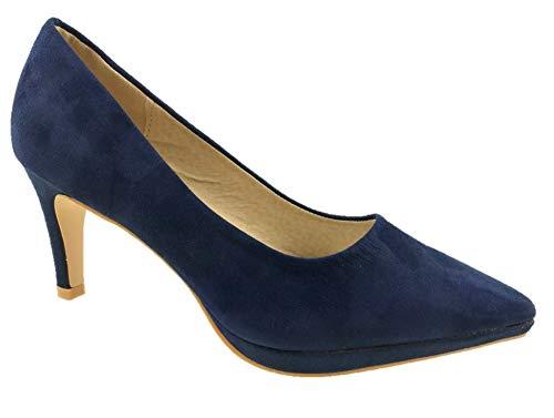 Zapatos de tacón bajo para mujer, de ante sintético, suela de piel, talla 36 a 42