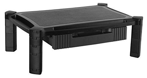 RICOO Monitor Ständer WM2-L mit Schublade Modular Aufsatz Bildschirmständer Standfuss Bildschirmerhöhung mit Stift & Tablet Organizer Rack Regal Lift Podest Schwarz für ca. 13-32 Zoll (33-81cm)