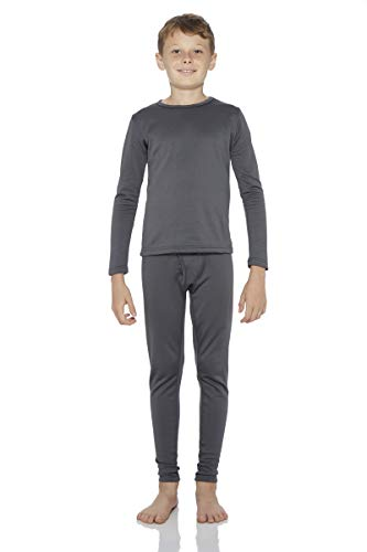Rocky Thermal Underwear for Boys Fleece Lined Thermals Kids Base Layer Long John Set Charcoal
