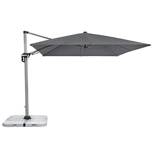 Doppler Active Pendelschirm 350x260 – Moderner Sonnenschirm ideal für Terrasse und Garten – ca. 350x260 cm – Anthrazit