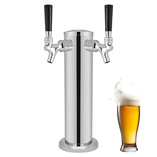 Torre de la cerveza, grifos duales de acero inoxidable Proyecto de la torre de la cerveza Dispensador de grifo para beber Ideal para montar en su barra o encimera para el bar en casa Uso de pu