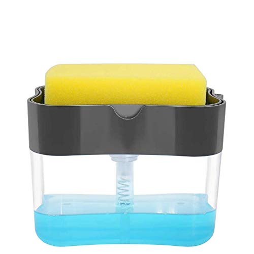 Dish Soap Dispenser for Kitchen, Soap Pump and Sponges Caddy, 3-in-1 Sponge Dispenser Instant Refill and Durable 13 Ounces (Grey)