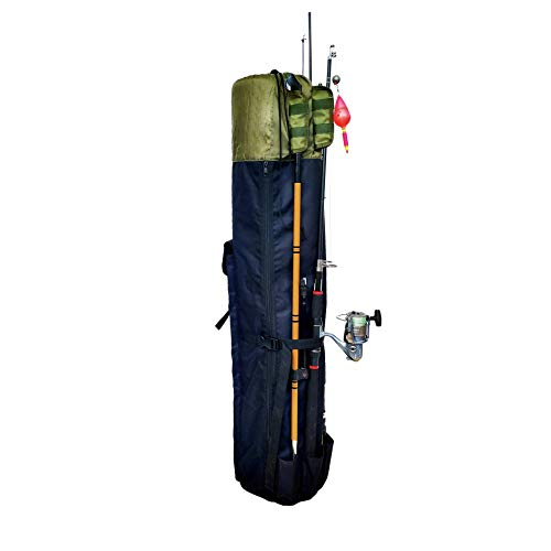 Hoovy Fishing Rod Carrying Case Organizer Storage Pockets and Shoulder Strap for Carrying (Green)