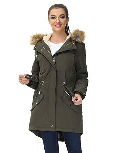 Royal Matrix Women's Hooded Warm Winter Parka Coat Waterproof Faux Fur Lined Jacket (Khaki, 2)