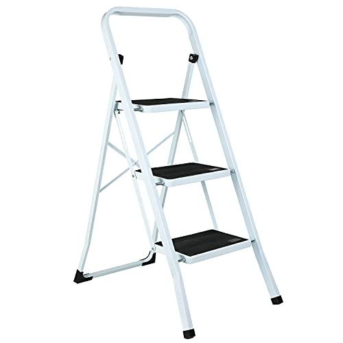 Trittleiter 3 Stufen klappbar,Klappleiter mit 20 cm breitem Anti-Rutsch-Pedal,Gummifußkappen, belastbar bis 150 kg Mehrzweck Leichte Stehleiter