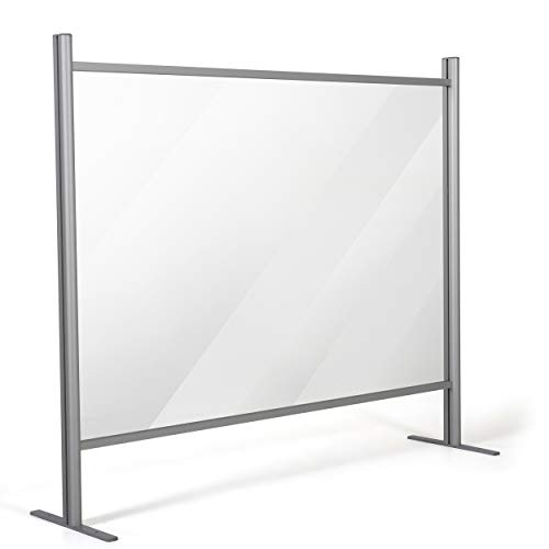 M&T Displays 47.24x47.24 Inch Clear Hygienic Barrier with Aluminum Bars, Sneeze Guard, Protective Window for Cashiers, Workers, Employers and Customers, Barrier Against Coughing & Sneezing