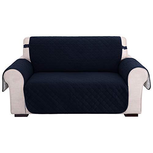 Amazon Brand - Umi Fundas para Sofa 2 Piezas Funda de cojín de protección para Mascotas Funda Cubre Ajustable Decorativa de Salon Sin Deslizante Azul Marino