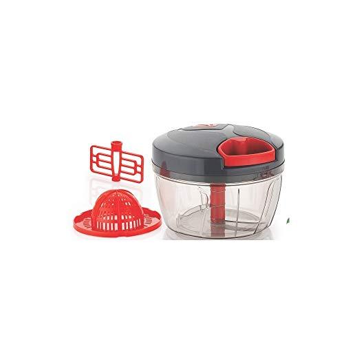 3 in 1 Handzerkleinerer mit Zugschnur, manuelle Küchenmaschine | Entsafter & Mixer-Aufsätze | scharfe Edelstahlklinge | 550 ml (grau/rot)