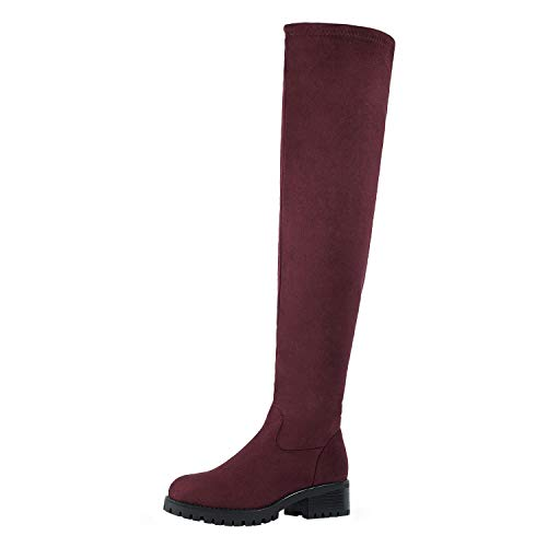 DREAM PAIRS Women's Burgundy Low Chunky Heel Stretchy Over The Knee Thigh High Boots Size 7 M US Tieland