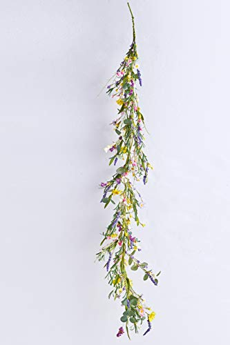 J'FLORU Artificial Flower Garland,4.6 Feet Daisy Lavender Wildflower Garland for Home Wedding Party Decor