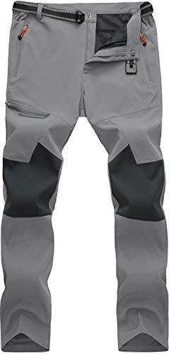 Pantalon d'Été Homme Pantalon à Séchage Rapide Randonnée Pantalon D'extérieur Léger pour Homme Pantalon Trekking Chasse Marche Pantalon Leisure Pantalon de Loisirs avec Poches Zippées Gris Grey