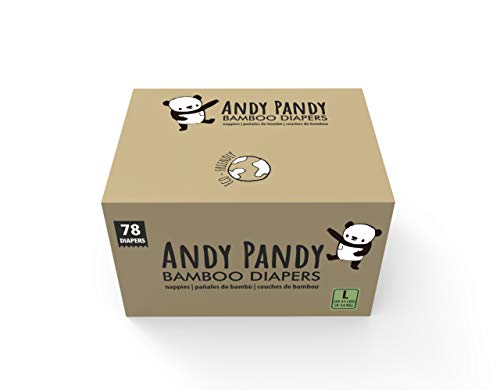 Andy Pandy Bamboo Disposable Diapers, Large, 20-31 lbs (9-14 kg), 78 count