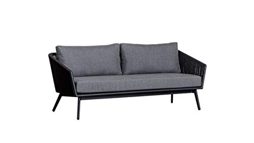 Meubletmoi - Sofá de jardín de 3 plazas de aluminio y cojines blandos de tela gris...