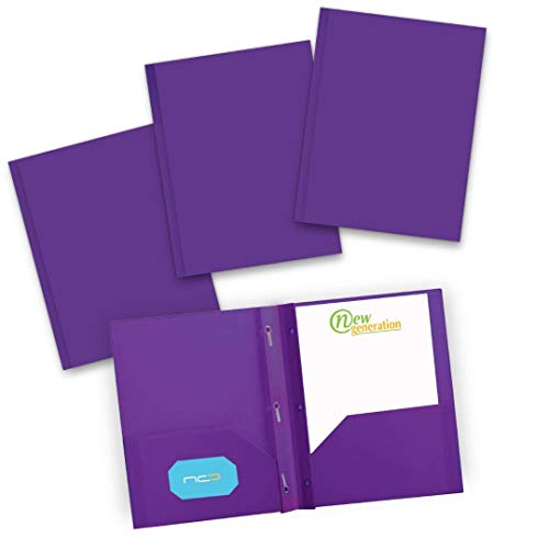 NEW GENERATION - Poly 2 Pocket Folders with 3 Prongs, Plastic Purple Folders 3 Pack Heavy Duty for Letter Size Papers, Includes Business Card Slot, for School, Home, Office, Work and Storage