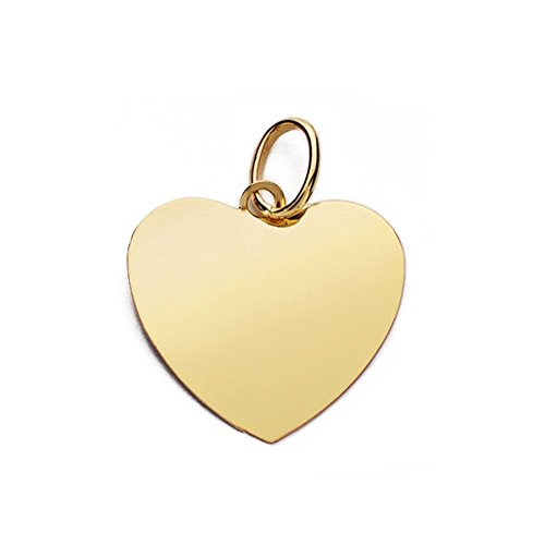 Colgante oro 18k corazón liso plano 14mm. [AB4650]
