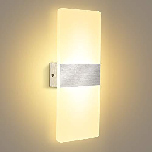 Lampade Parete Interni LED, Lovebay Applique Parete Moderno in Acrilico, 12W Bianco Caldo 3000K, Lampade Muro per Soggiorno, Camera Letto, Corridoio, Balcone, 29 cm ( Bianco Caldo)