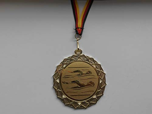 Fanshop Lünen Medaillen - Große Stahl Medaille 70mm - (Gold) - Schwimmen - Schwimmensport - mit Alu Emblem 50mm - (Gold) - mit Medaillen-Band - (e111) -
